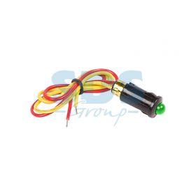 Зеленый малый индикатор D8 12В с проводом (WL-04)