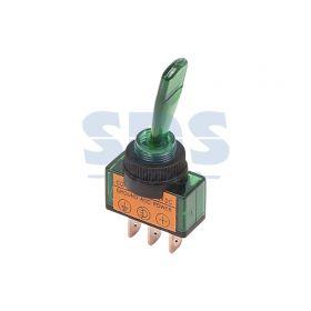 Однополюсный тумблер с зеленой подсветкой12В 30А (3с) ON-OFF (ASW-13D)