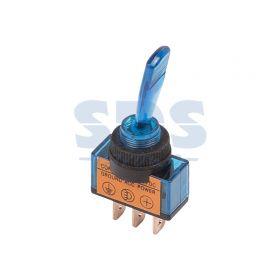 Однополюсный тумблер 12V 20А (3c) ON-OFF с синей подсветкой LED (ASW-13D)